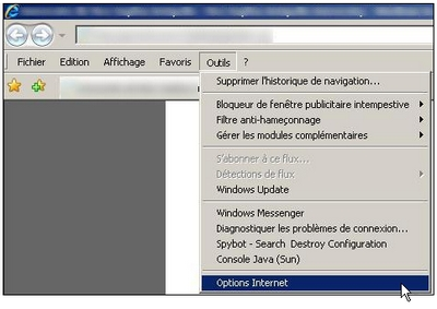 Options internet dans les anciennes versions d'Internet Explorer
