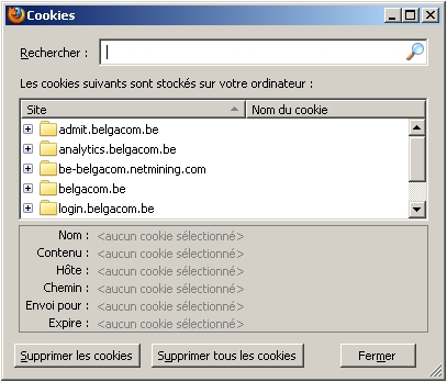Suppression des cookies (Firefox)