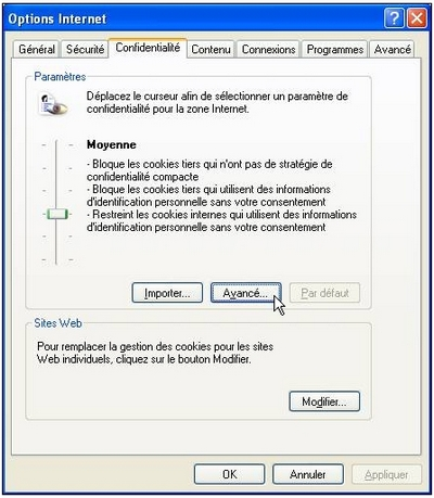 Fenêtre Options Internet, onglet Confidentialité (Internet Explorer)